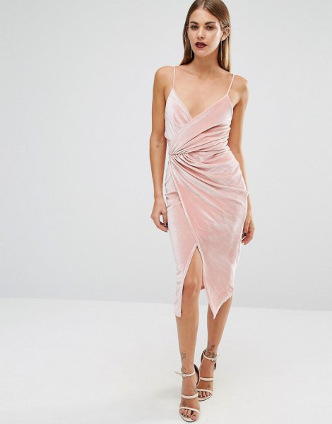 pink velvet midi low cut wrap dress