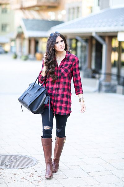 red and black plaid tunic with ripped skinny jeans and knee high boots