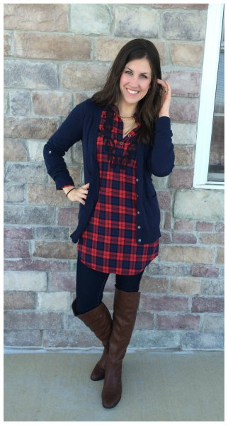 red and navy plaid tunic with deep blue cardigan