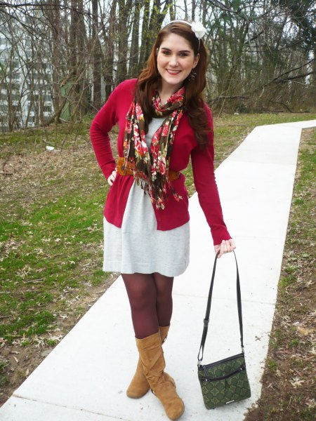 red belted cardigan over white t shirt dress