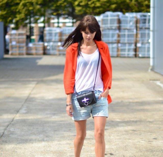 red blazer with light blue denim boyfriend shorts