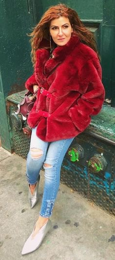 red faux fur coat with silver metallic kitten heels