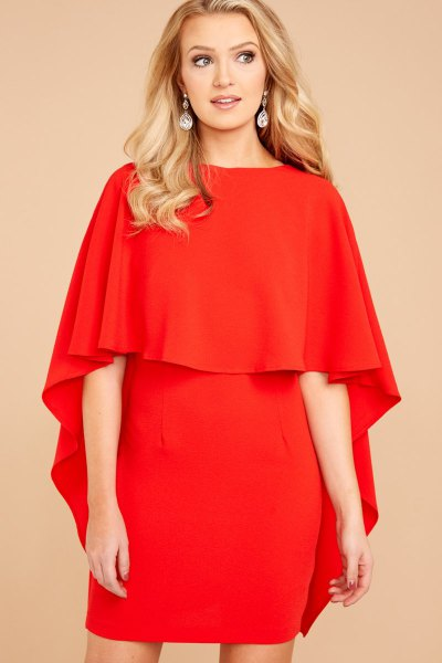 red fold shoulder ruffle mini bodycon dress