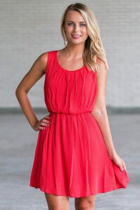 red gathered waist tank mini pleated sundress