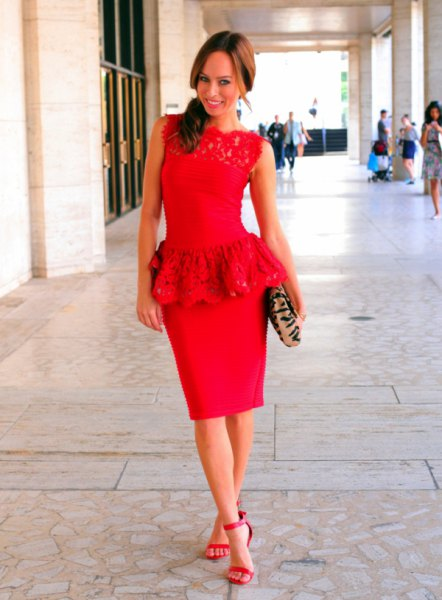 red lace top with bodycon midi skirt