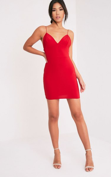 red spaghetti strap plunge mini slip dress