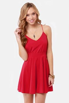 red spaghetti strap v neck mini skater sundress