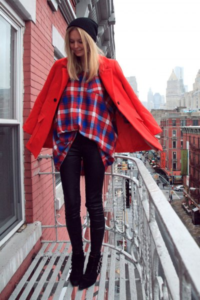 red wool coat with navy and orange plaid shirt