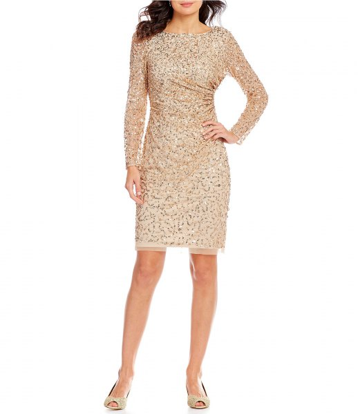 rose gold sequin long sleeve cocktail mini bodycon dress