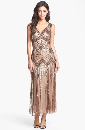 rose gold v neck vintage maxi dress