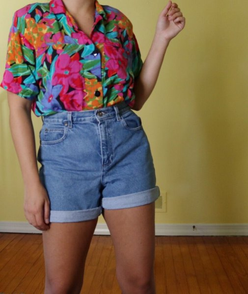 rose printed vintage shirt with high waisted denim shorts