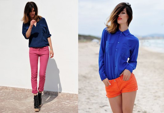royal blue button up shirt with mini orange shorts