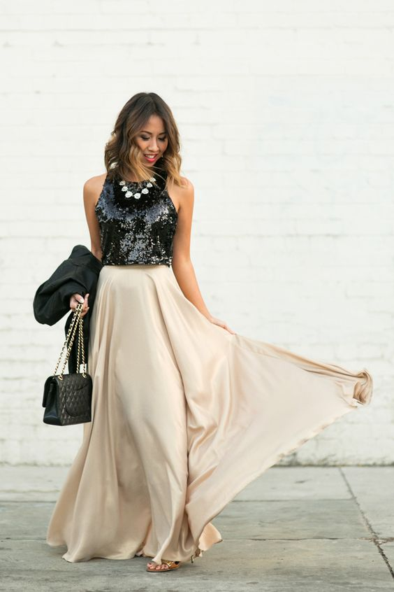 sequined crop top maxi skirt