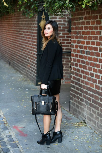 short leather boots with black blazer and mini skirt
