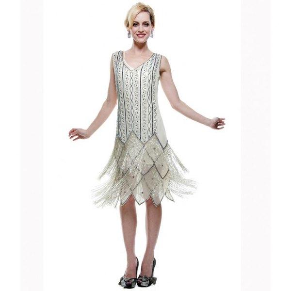 silver and black tribal printed midi fringe dress