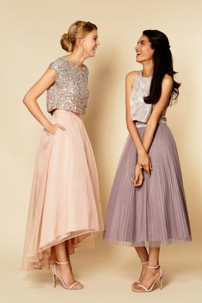 silver cap sleeve sequin crop top with pale pink maxi flared skirt