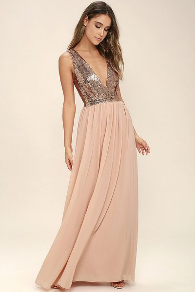 silver deep v neck sequin top with blush pink chiffon pleated floor length skirt