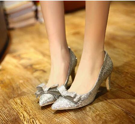 silver ribbon sequin kitten heels with black shift mini dress