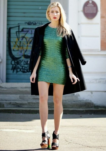 silver sequin mini dress with black long coat
