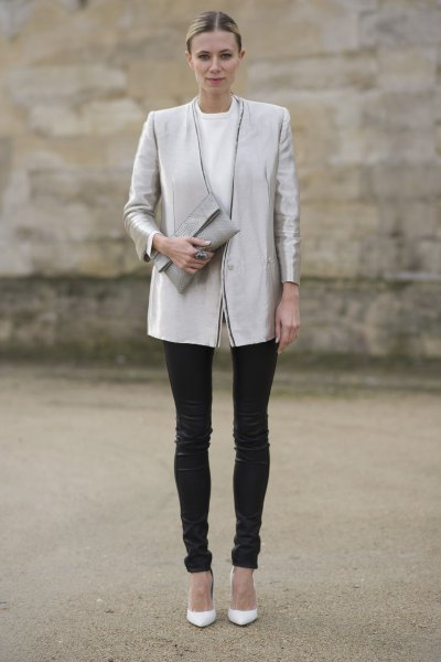silver silk boyfriend blazer with white crew neck sweatshirt