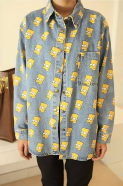 simpsons printed chambray vintage shirt with black jeans