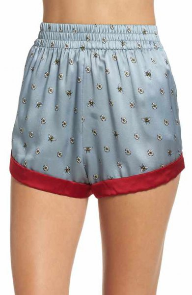 teal mini silk pajama shorts with white cropped camisole