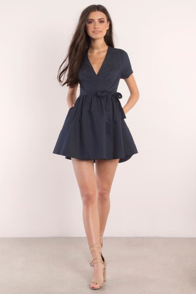 tie waist fit and flare mini wrap dress