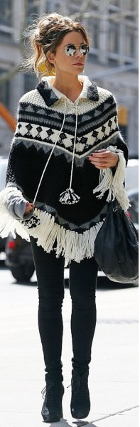 tribal printed fringe poncho sweater with skinny jeans