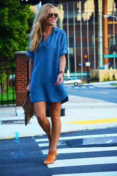 v neck chambray shift mini dress with brown suede short boots