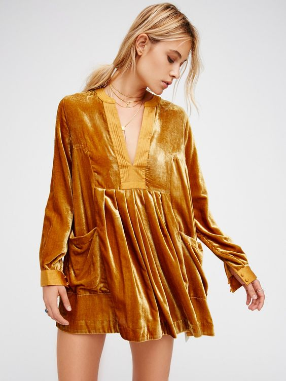 velvet tunic mustard yellow