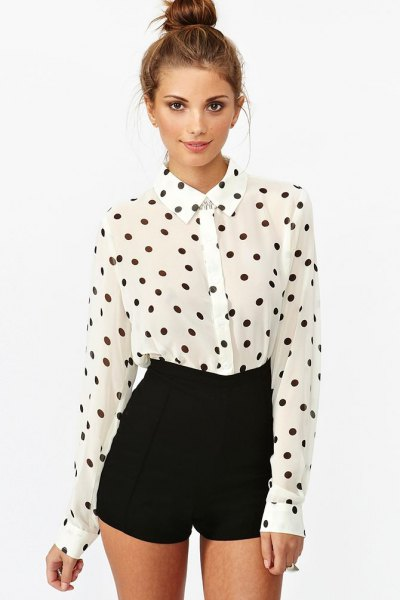 white and black polka dot vintage shirt