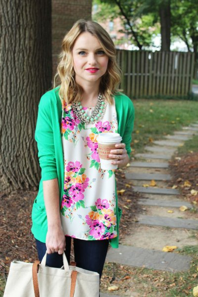 white and blue floral blouse with crepe cardigan