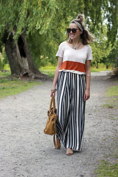white and red color block with striped wide leg pants
