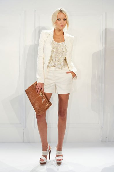white blazer and pale pink lace top