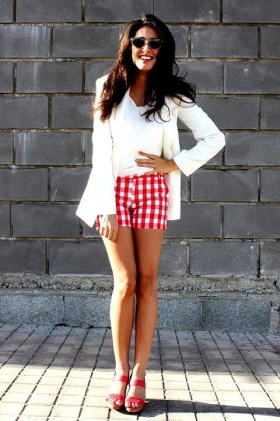 white blazer with red plaid shorts