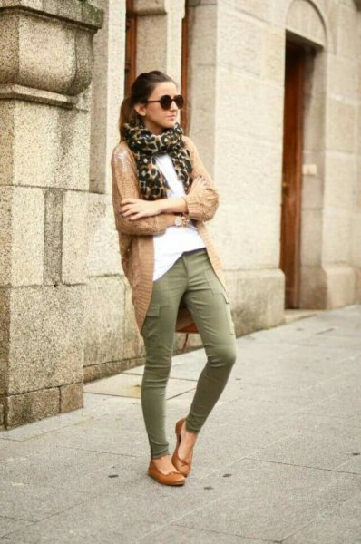 white blouse and camel long cardigan