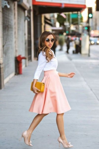 white blouse with blush pink midi circle skirt