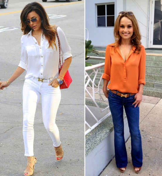 white button up shirt and matching skinny jeans