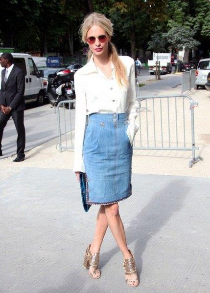 white button up shirt with light blue knee length skirt