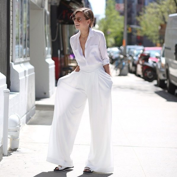 white button up shirt with matching palazzo pants and sandals