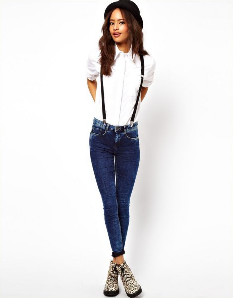 white button up shirt with suspender jeans