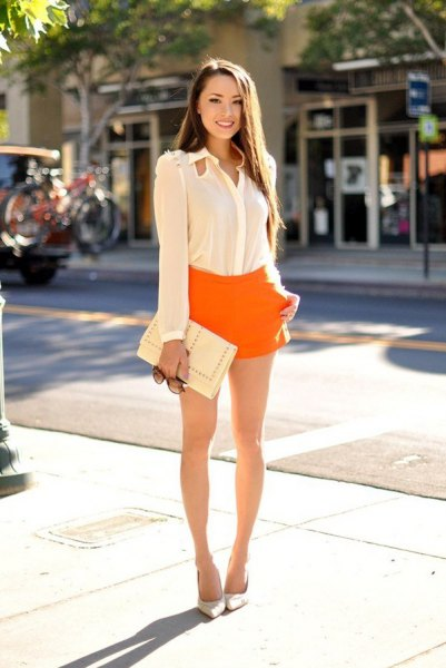 white chiffon long sleeve shirt with yellow flowy shorts