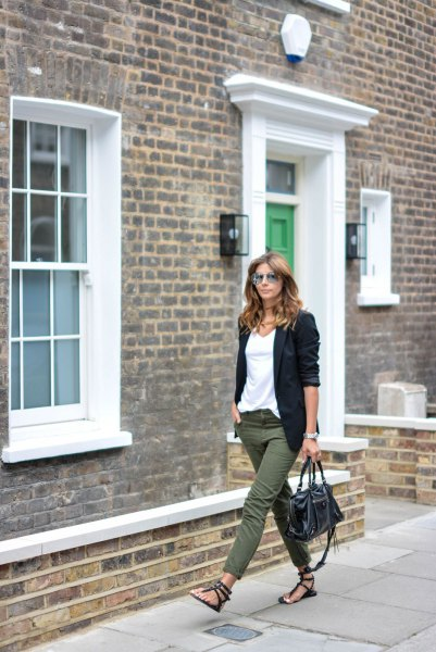 white chiffon t shirt and black blazer