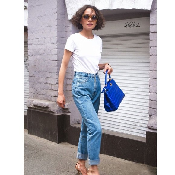 white crew neck t shirt with blue straight leg vintage high waisted jeans