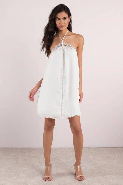 white criss cross halter mini sundress