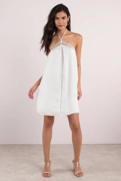 white criss cross halter mini sundress