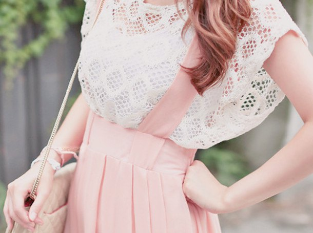 white crochet lace cap sleeve top with pale pink suspender dress