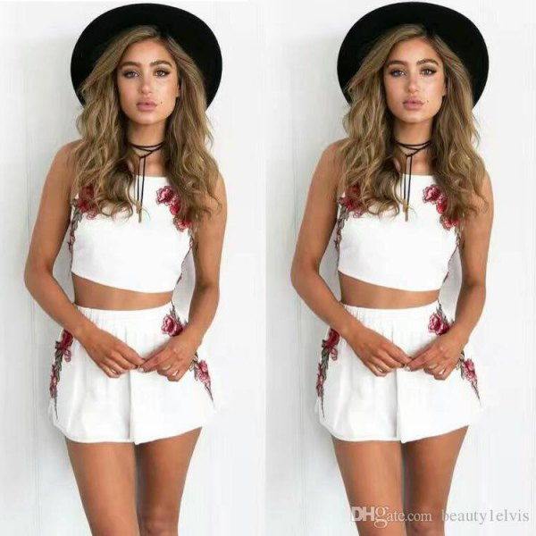 white crop tank top with matching flowy mini shorts