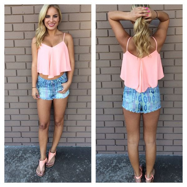 white crop tank with blue printed denim shorts