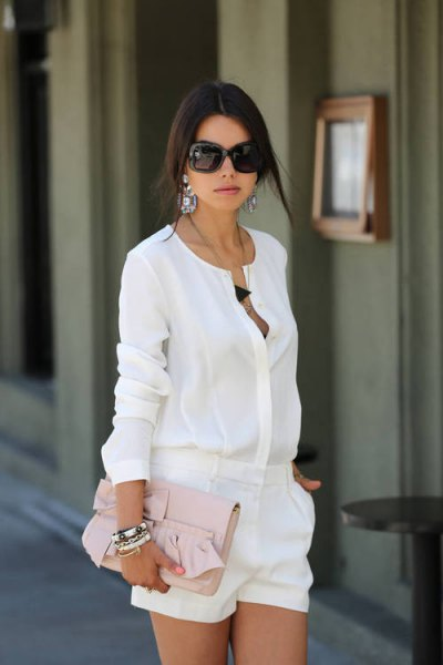 white dressy shorts with matching chiffon shirt